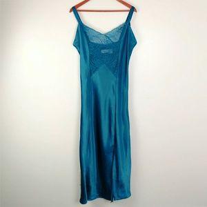 Vtg VS satin lace nightgown side split L